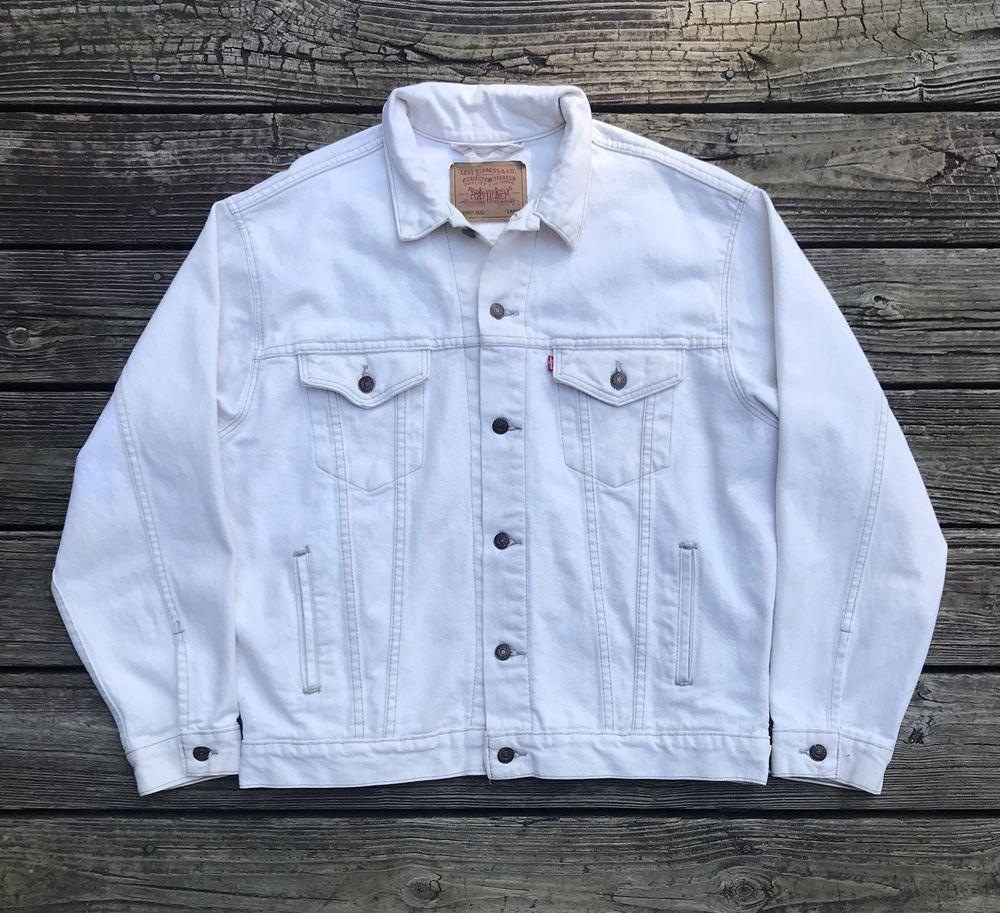 Levi S 70507 2652 Vintage Off White Denim Jean Jacket Men S L Levis Denimjacket Jean Jacket Men Mens Jeans White Denim Jacket