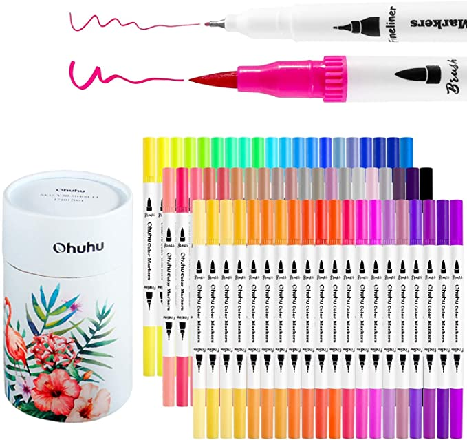 Amazon Com Ohuhu Art Markers Dual Tips Coloring Brush Fineliner Color Pens 60 Colors Of Water Based Marker For Call Marker Art Coloring Markers Ohuhu Markers