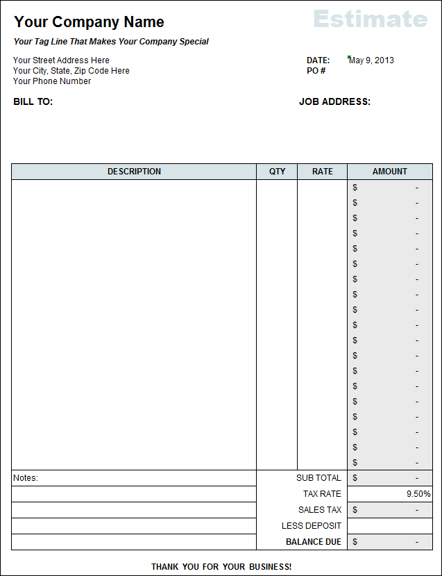Free Estimate Template From Fast Easy Accounting 206 361 3950 – Estimate Invoice Template