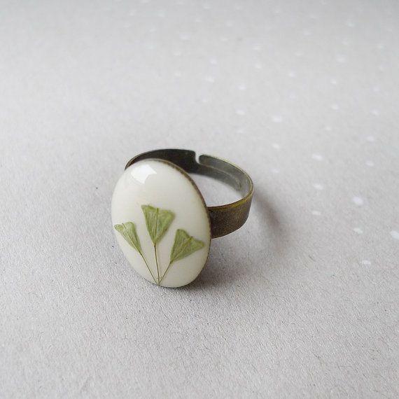 Shepherd's purse,  mini oval ring - Capsella bursa-pastoris - #handmade #botanical #gift $22.00