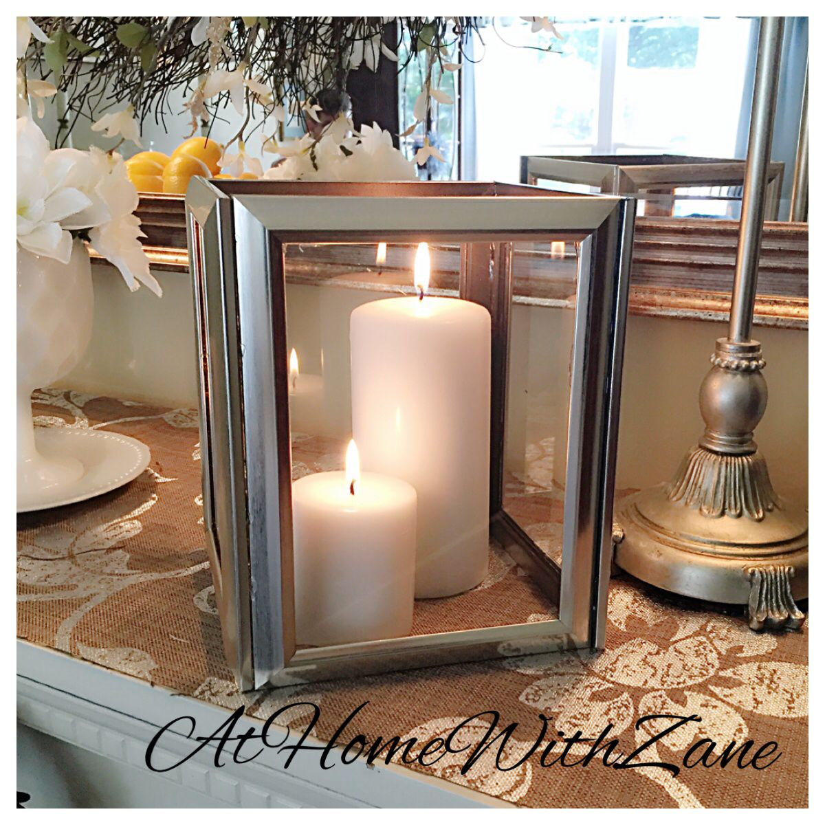 fba76b825b7b DIY candle lantern. Using picture frames from the Dollar Store. Hot glue  and pillar candles and you can create a classy look.