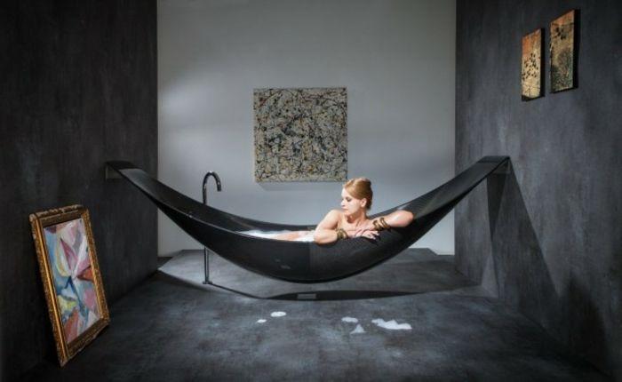 Eingelassene Badewanne schicke schwarze eingelassene badewanne moderne gestaltung