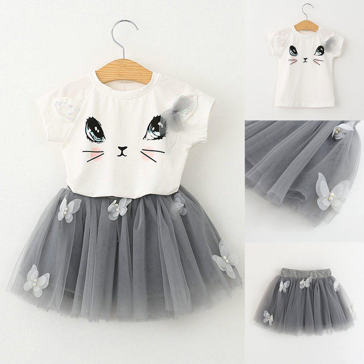 0ac487877 2Pcs Toddler Kids Baby Girls Outfits Clothes T-Shirt Tops+Tutu Short Skirt  Sets