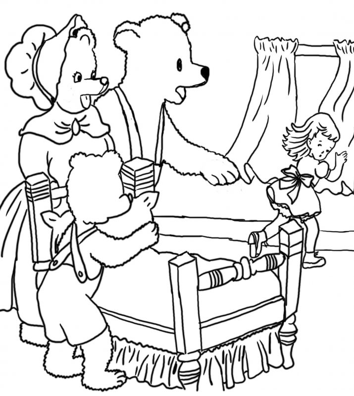 Printable Coloring Pages Goldilocks Three Bears Bear Coloring