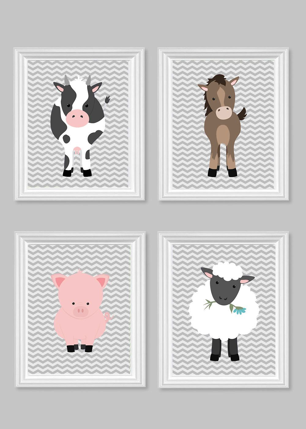 Farm Animal Nursery Art Kids Decor Cow Horse Pig Sheep Lamb Pony Grey Chevron Baby Shower Gift Gender Neutral By