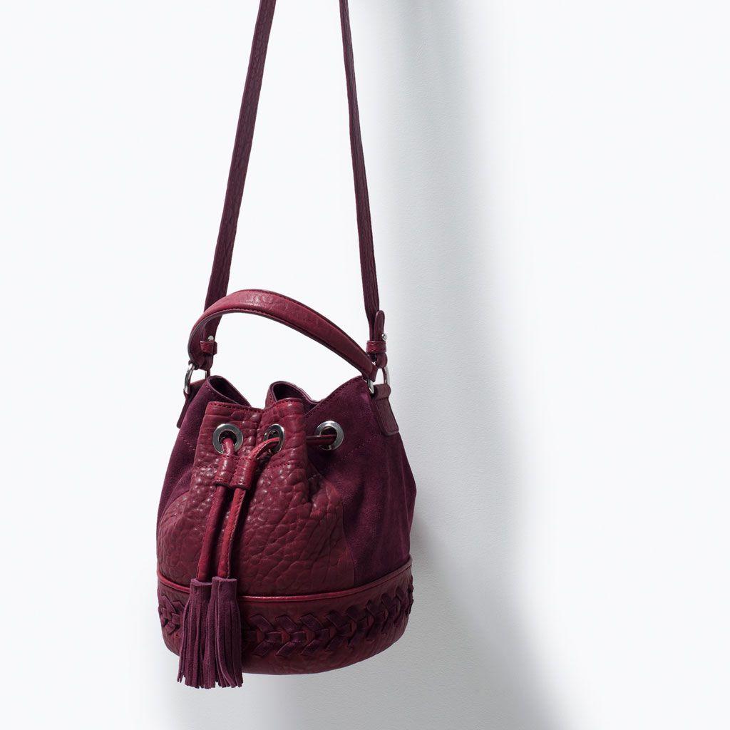 image 4 de sac bourse en cuir tress de zara sacs. Black Bedroom Furniture Sets. Home Design Ideas