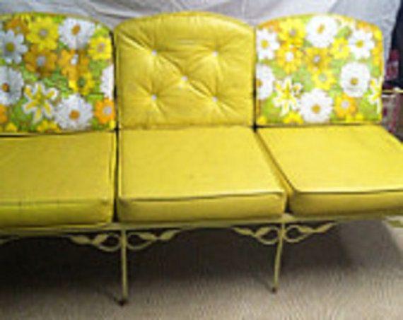 Retro Yellow Wrought Iron Garden, Antique Wrought Iron Patio Furniture Cushions