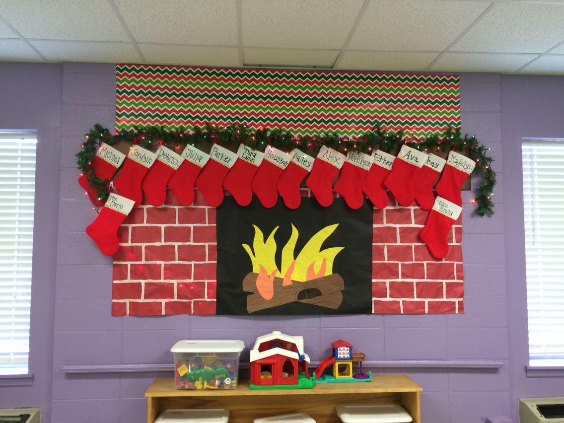 Christmas Display Ideas For Nursery.Classroom Christmas Display Fireplace Preschool Classroom