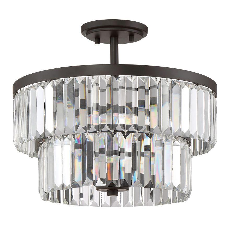 Lowes semi flush mount lighting - Quoizel Valentina 15 5 In W Bronze Clear Glass Semi Flush Mount Light Lws3308c
