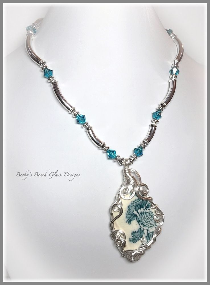 English Teal Blue Floral Sea Pottery Necklace, $64.00 | Becky\'s ...