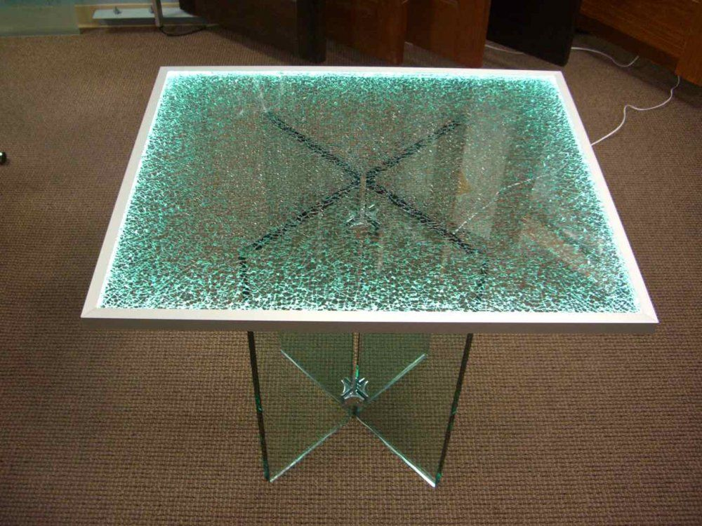 Shattered Glass Edge Lit Glass Dining Tables Sans Soucie Glass Dining Table Shattered Glass Reception Desk Glass