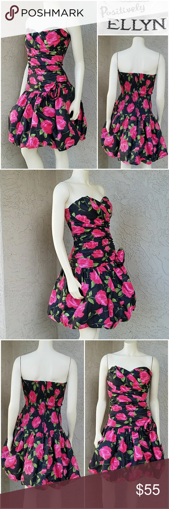 Vintage strapless pink roses bubble dress bubble skirt bodice and