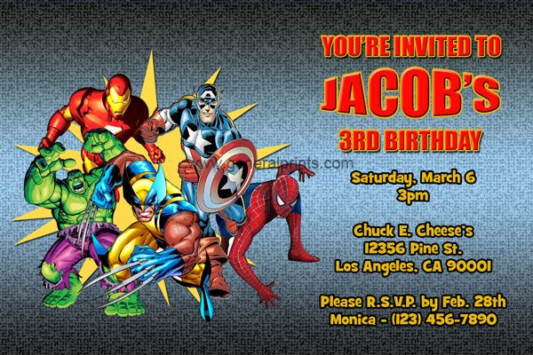 Personalized Marvel Superhero Invitations Printable Jacob S 4th