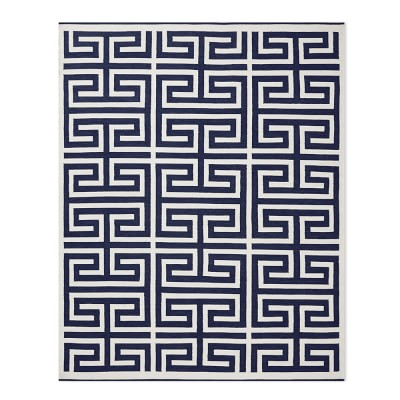 Perennials Greek Key Indoor/Outdoor Rug, 9x12u0027, Navy