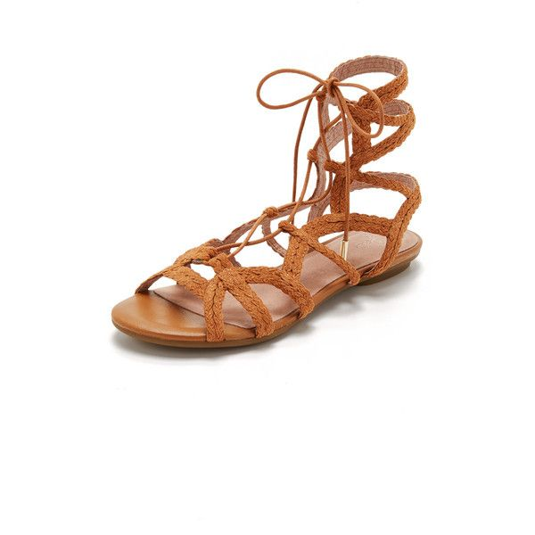 Joie Fynn Sandals (285 BRL) ❤ liked on Polyvore featuring shoes, sandals, whiskey, rubber sole shoes, woven sandals, lace up shoes, leather lace up shoes and leather sandals