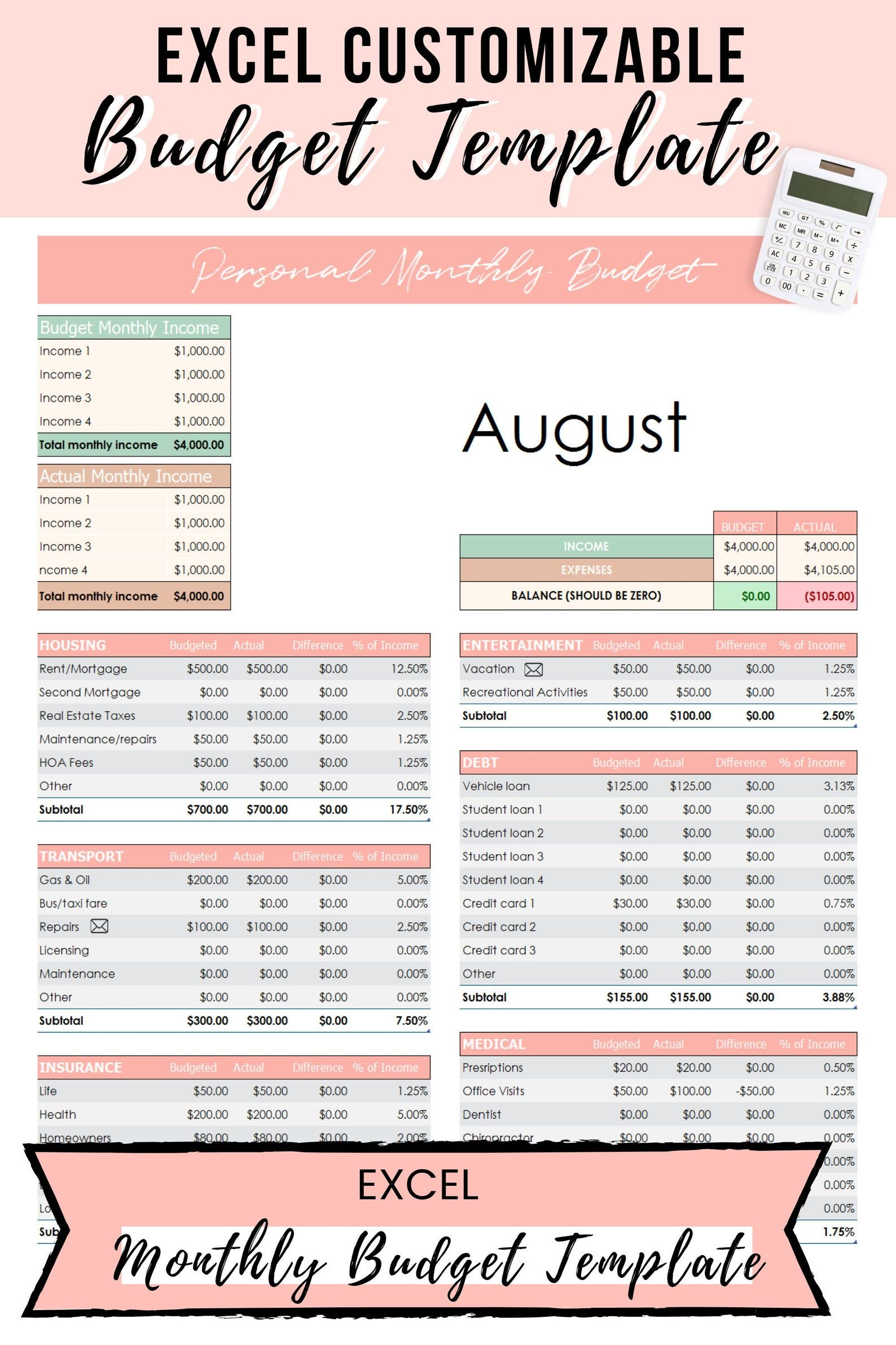 Excel Budget Template, Dave Ramsey Budget Template