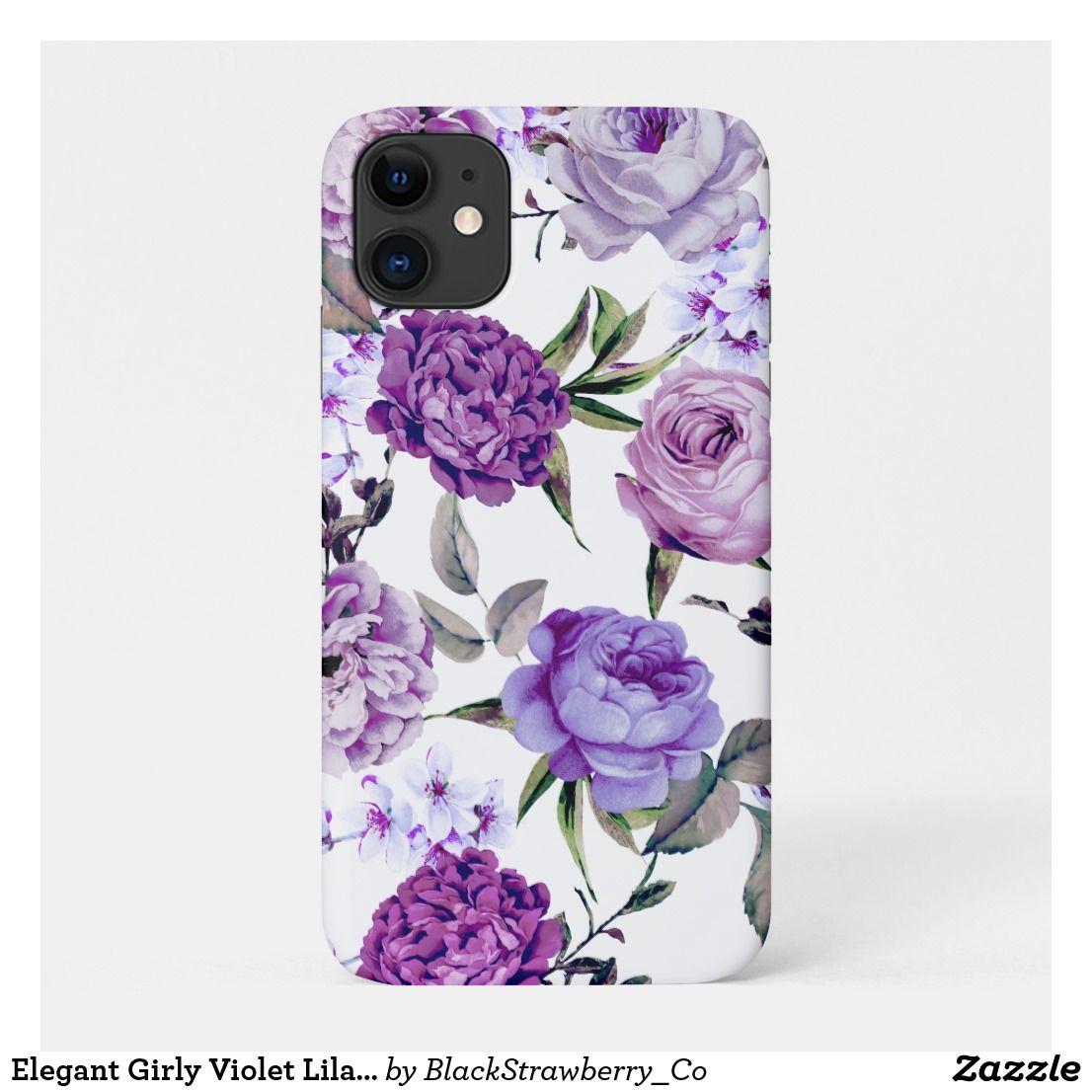 Elegant girly violet lilac purple flowers casemate iphone