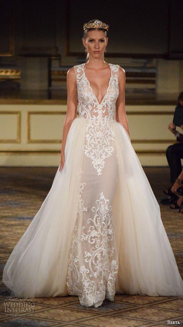 berta fall 2016 new york bridal fashion week beautiful wedding dress v neck  plunging neckline tulle overskirt lace embroidery 943ba173e25