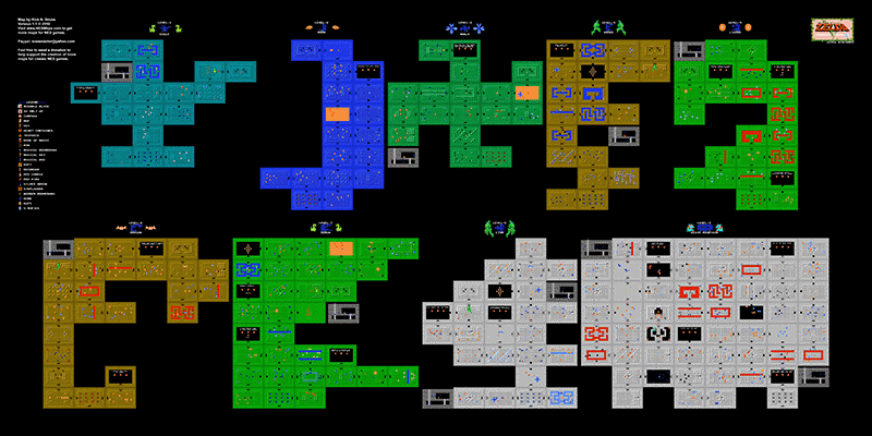 The Legend of Zelda 1st Quest Dungeons Poster Map 24