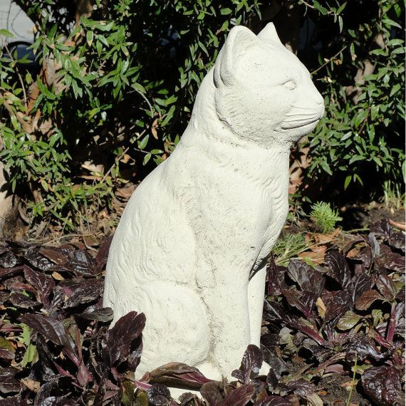 Vintage Stone SITTING CAT STATUE Garden Art W/ By Dsgardenshop, $44.99