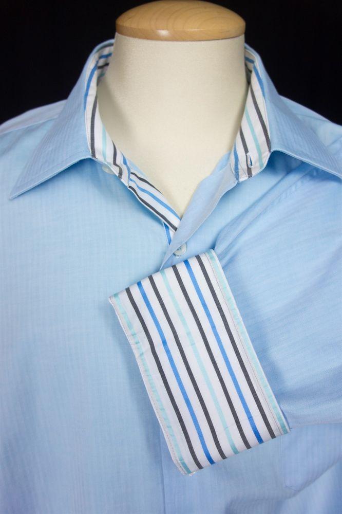 BESPOKE H. Halpern ESQ Mens Dress Shirt 18.5 Long XXL 2XL Blue Herringbone $248 #HHALPERNESQ