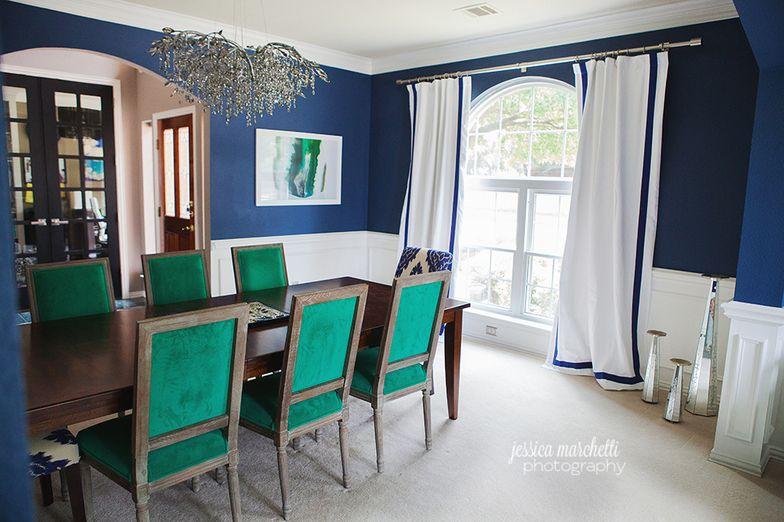 Emerald Green and Navy Dining Room. #emerald #emeralddiningroom #emeraldchairs #emeraldrug #greenroom #fineart #fineartphotography #wallart #worldmarket #overstock #DallasInteriorDesign