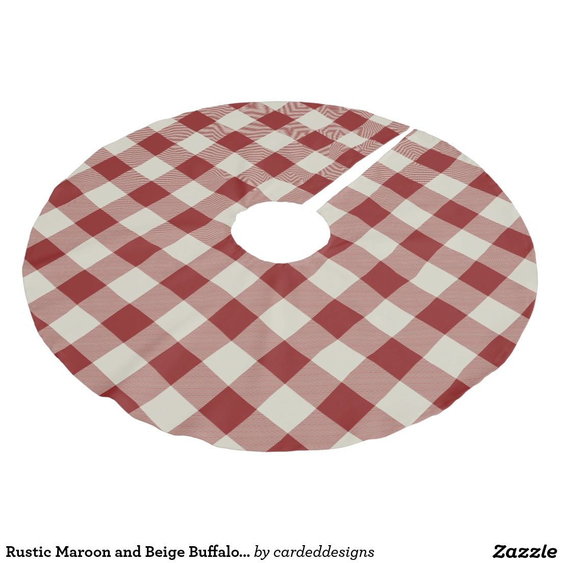 Rustic Maroon and Beige Buffalo Check Plaid Brushed Polyester Tree Skirt