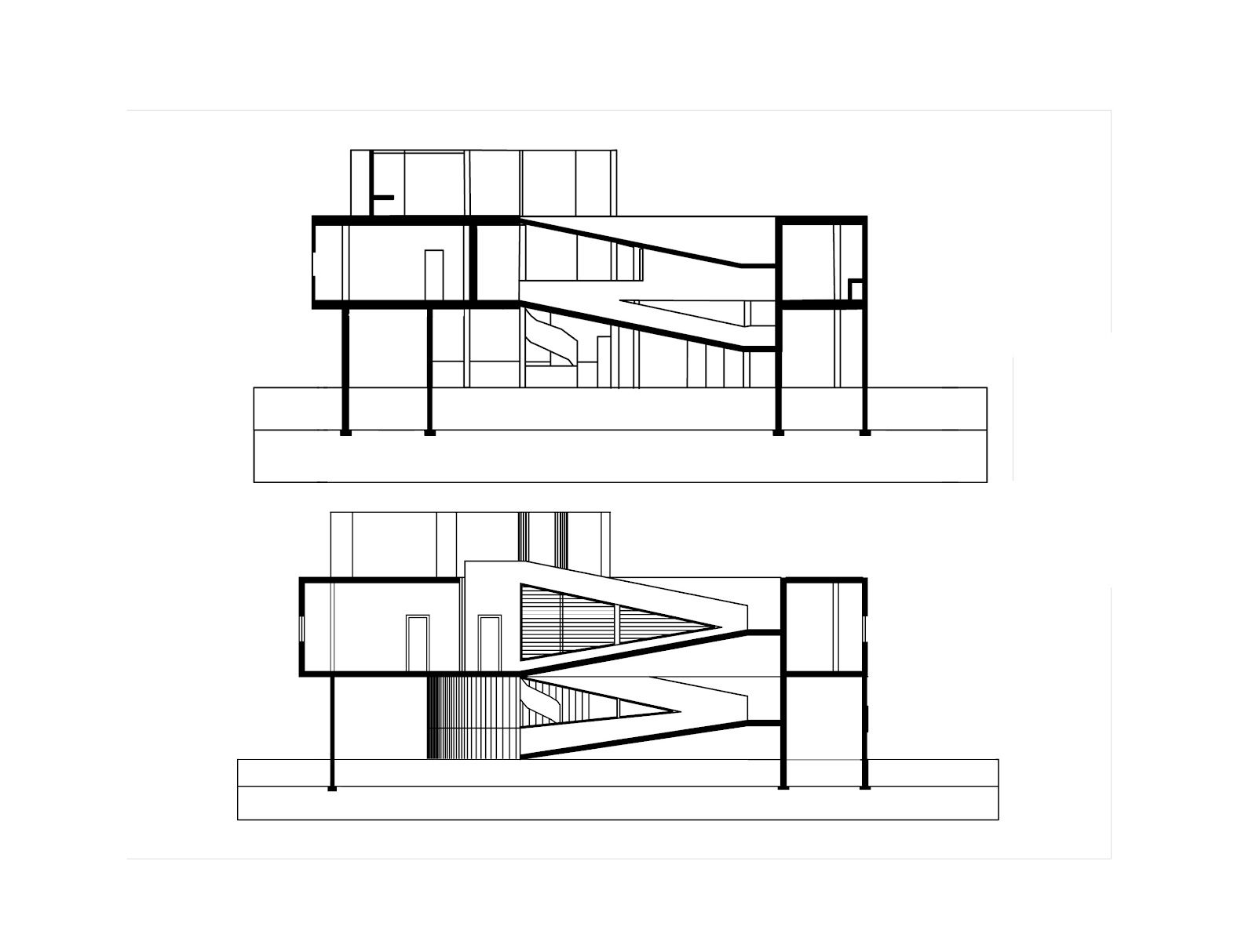 Villa savoye final axonometric plans sections for Villa plan dwg