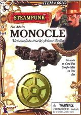 SteamPunk Victorian Monocle Gold Toned Gear Eyepiece, NEW SEALED