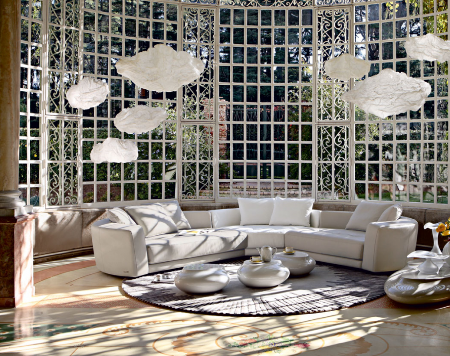 Pretty Hanging Ornaments Like Flowers Or Jellyfish Living Room Inspiration 120 Modern Sofas By Roche Bobois