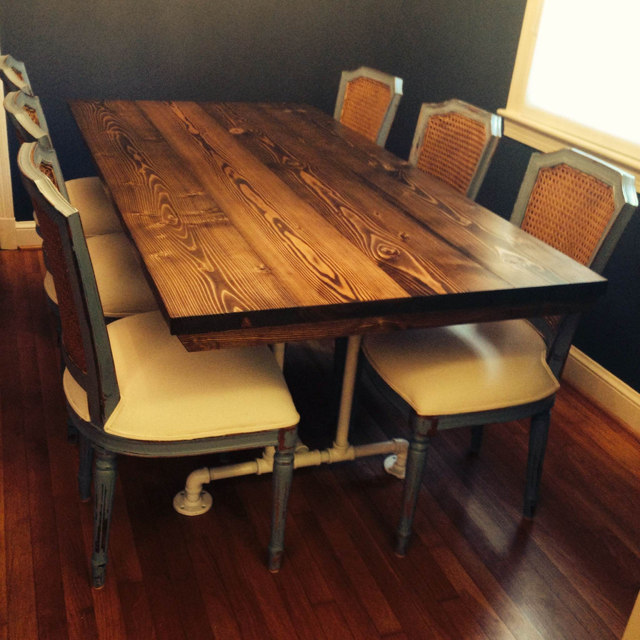 6 Industrial Style Table Solid Wood Stained Dark Walnut
