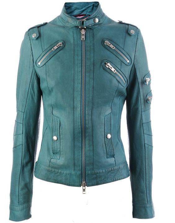 Perfekt für den Kühlen Farbtyp: Lederjacke in Nilgrün / Teal (Farbpassnummer 36) Kerstin Tomancok Farb-, Typ-, Stil & Imageberatung