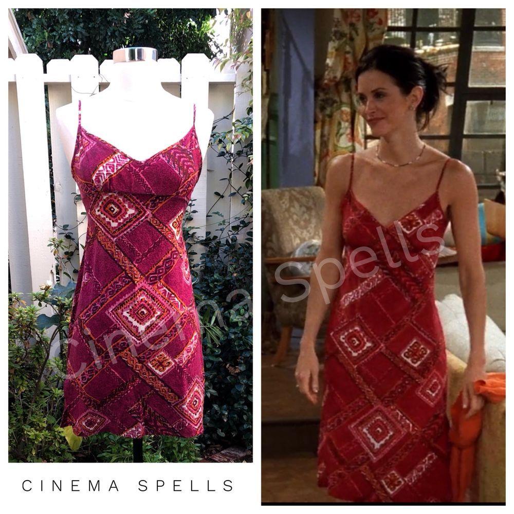 2ea2c60d879 Vintage 90s RARE ASO Monica Geller Friends Silk Printed Mini Dress ...