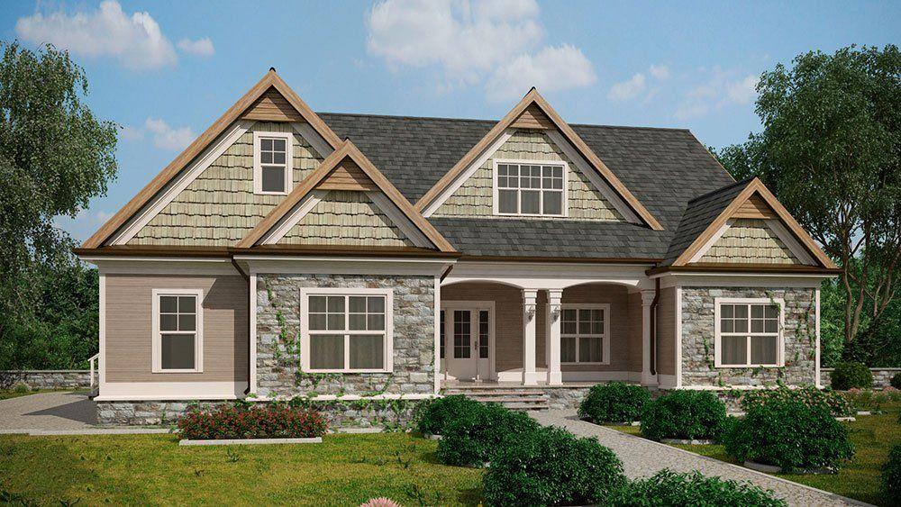 Craftsman Style Lake House Plan With Walkout Basement Lake House Plans Basement House Plans Craftsman Style House Plans