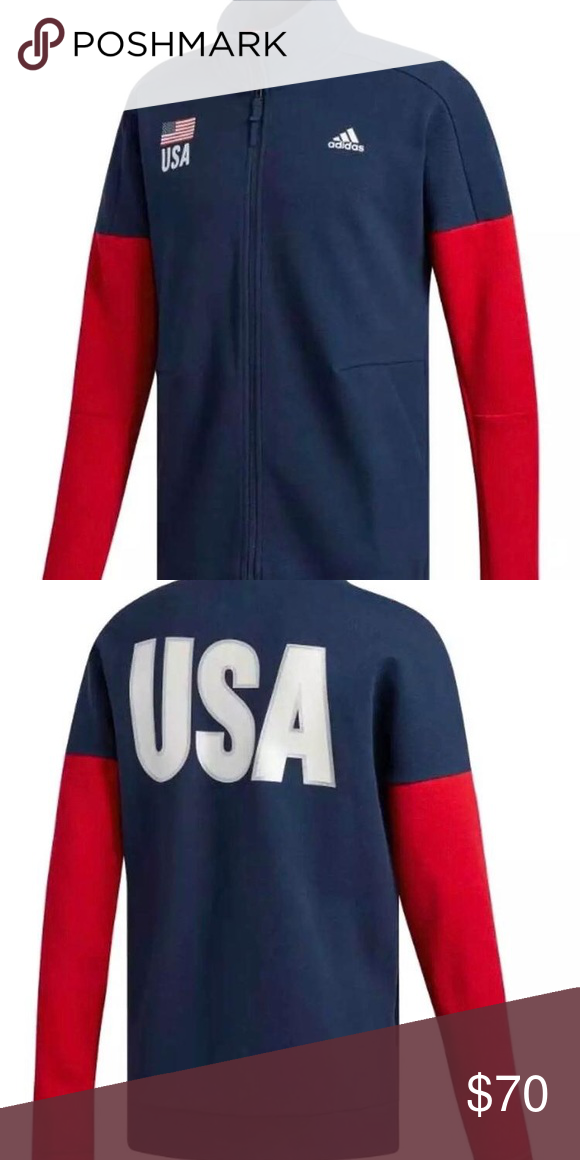 94b927f5652d USA Volleyball WU full zip up Jacket Great price Usa Fast shipping adidas  Jackets & Coats