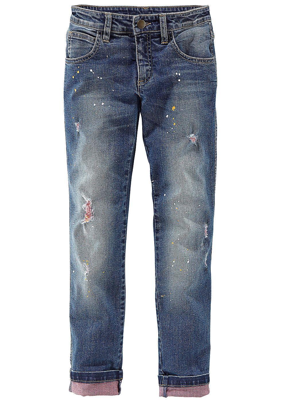 Produkttyp , Jeans, |Materialzusammensetzung , Obermaterial: 98% Baumwolle, 2% Elasthan, |Material , Jeans, |Passform , Schmale Form, |Beinform , schmal, |Beinlänge , lang, |Leibhöhe , normal, |Bund + Verschluss , verstellbarer Innen-Gummizug bis Gr. 146, |Gesäßtaschen , Tasche aufgesetzt, |Beinabschluss , Kante abgesteppt, |Optik , leichte Abriebeffekte, |Pflegehinweise , Maschinenwäsche, |Aus...