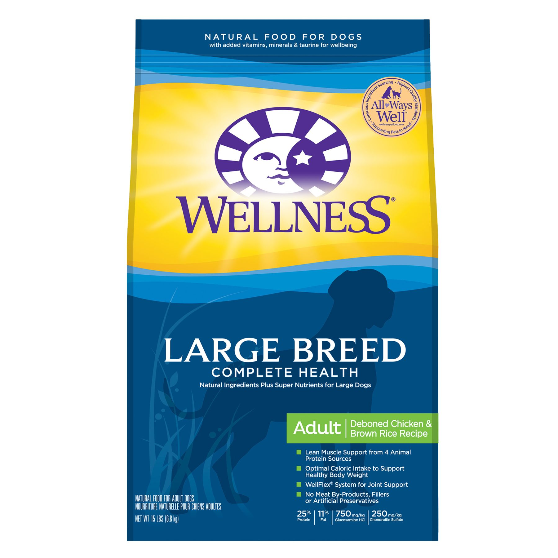 Wellness Complete Health Large Breed Adult Dog Food Natural Size