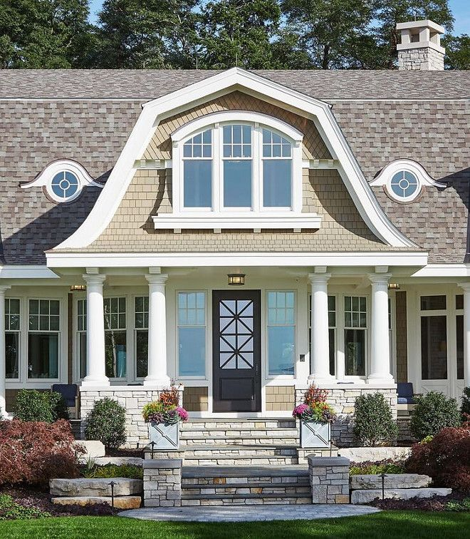 Classic Gambrel Style Shingle Home Gambrel Style House Front Porch Hamptons House