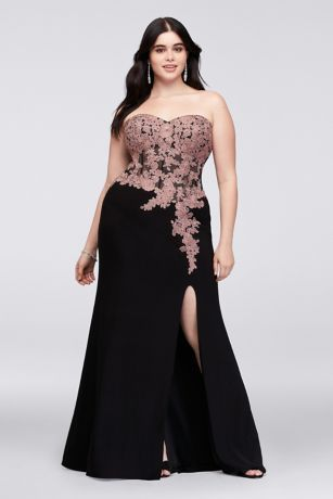 glitter lace plussize gown with geometric neck  plus
