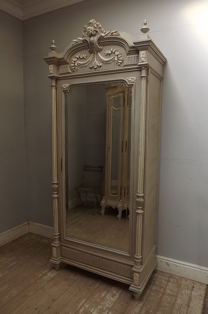 Antique French Louis Xvi Single Door Armoire Shabby Chic