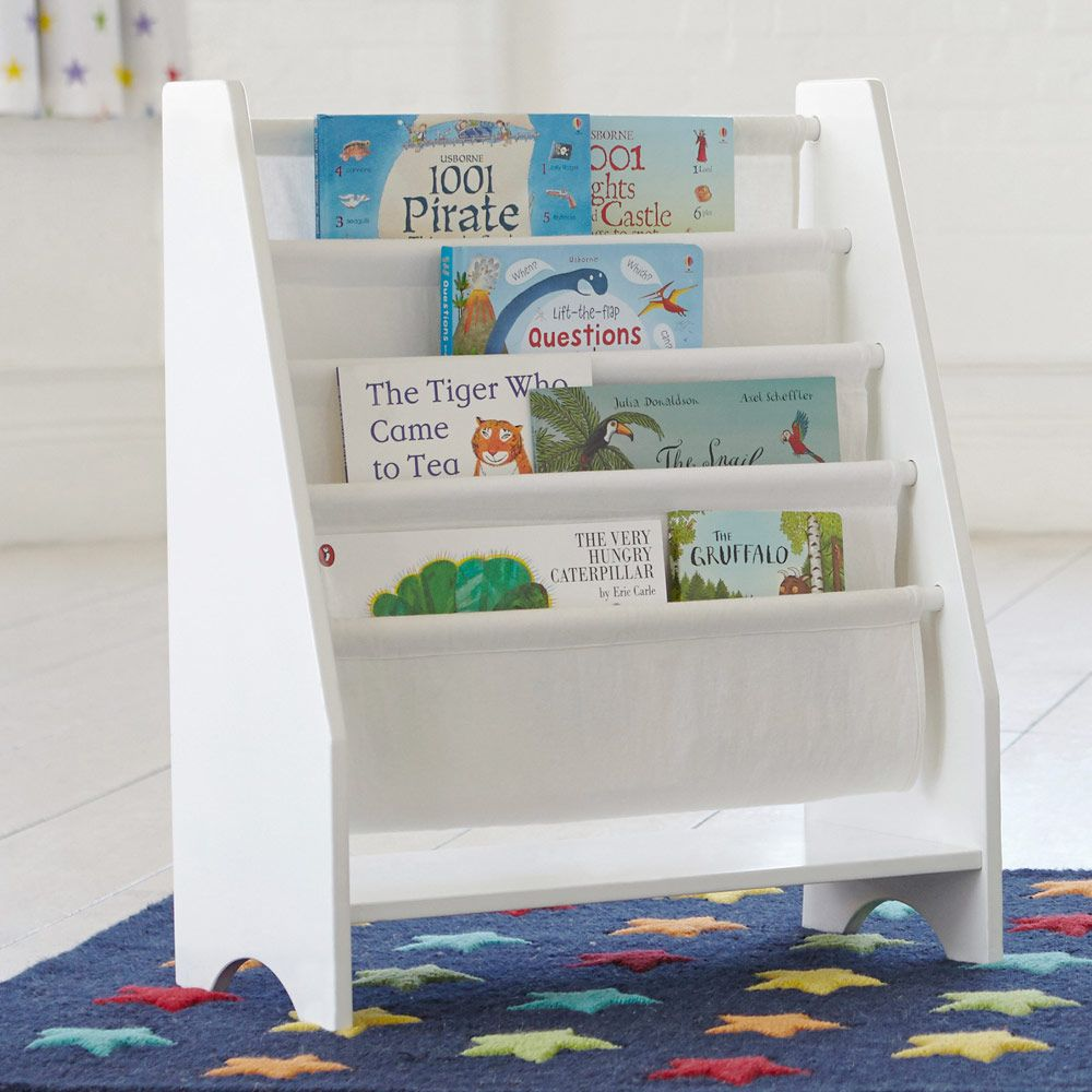 This Freestanding White Sling Bookcase Is Perfect For All Those Outsized Children S Books