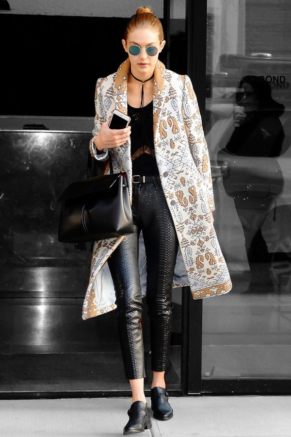 Gigi Hadid's Latest #OOTD Is Not Playing Around #refinery29  http://www.refinery29.com/2016/01/102185/gigi-hadid-style-pictures#slide-1  That's not your mother's coat and definitely not your mother's (python) pants. Whoa....