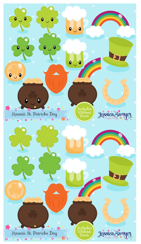 Instant Download Kawaii St Patricks Day Clipart And Vectors Etsy Manualidades Irlanda Buhos