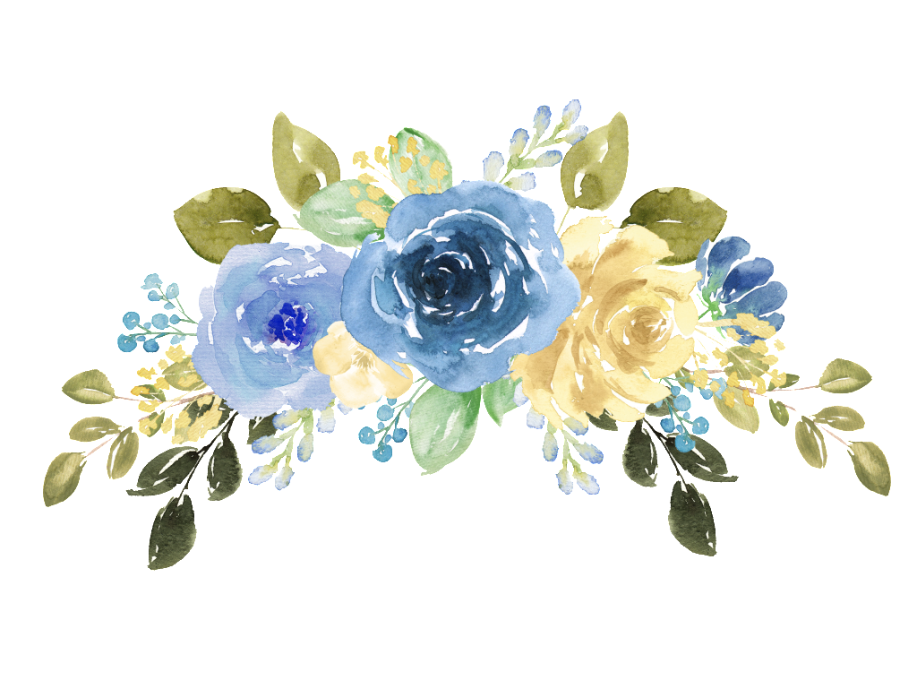 Hand painted blue watercolor flower png Transparent