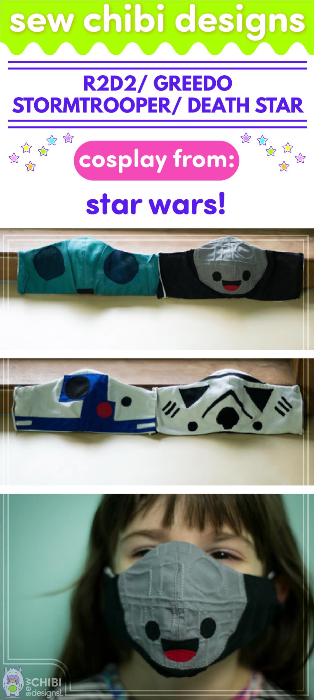 Star Wars Inspired Face Masks Sew Chibi Designs In 2020 Star Wars Inspired Star Wars Sewing Star Wars
