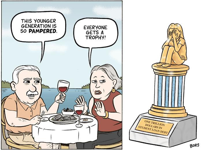 The Trophy Generation Matt Bors Funny images, Comics