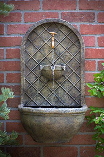 The Milano   Outdoor Wall Fountain   Florentine Stone Finish   Water Feature  For Garden, Patio And Landscape Enhancement