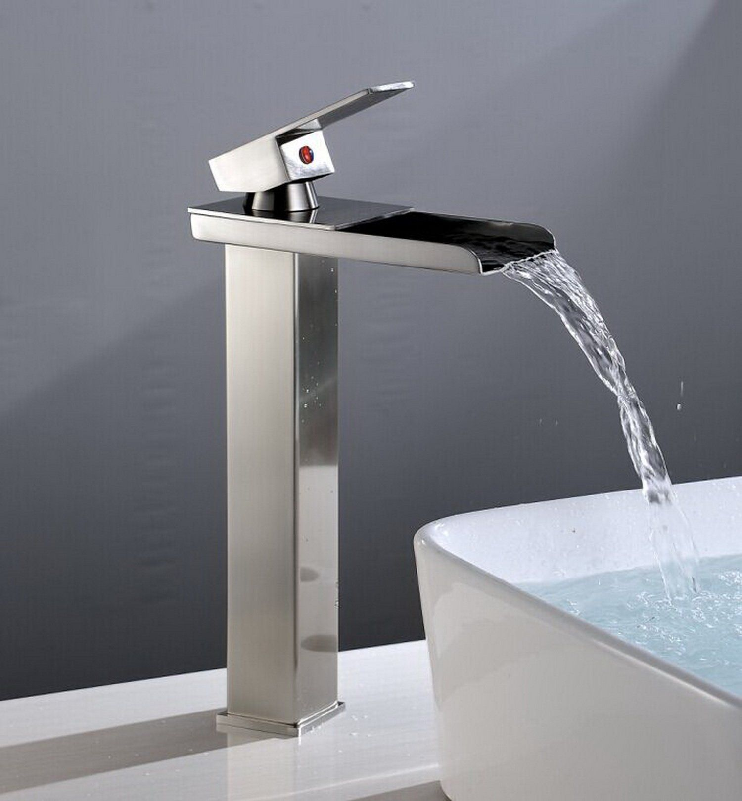 Aquafaucet Tall Nickel Brushed Waterfall Bathroom Sink Vessel