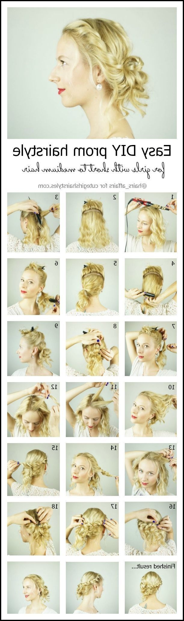 Easy diy prom hairstyle for girls with short to medium hair with