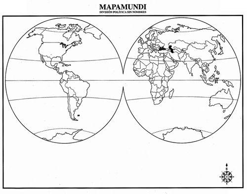 Mapamundi con divisin poltica sin nombres  mapamundi sin nombre